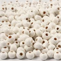 Wooden Beads, D: 5 mm, hole size 1,5 mm, white, 6 g/ 1 pack, 150 pc
