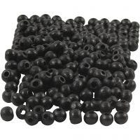 Wooden Beads, D: 5 mm, hole size 1,5 mm, black, 6 g/ 1 pack, 150 pc
