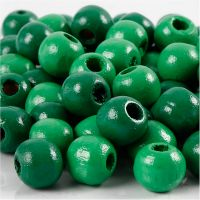 Wooden Beads, D: 12 mm, hole size 3 mm, green, 22 g/ 1 pack