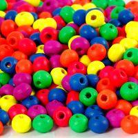 Neonmix Wooden Beads, D: 5 mm, hole size 1,5 mm, neonmix, 7 g/ 1 pack