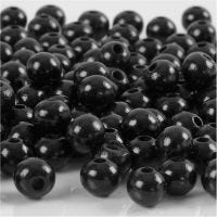 Wooden Beads, D: 8 mm, hole size 2 mm, black, 15 g/ 1 pack, 80 pc