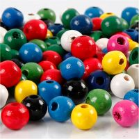 Wooden Beads Mix, D: 8 mm, hole size 2 mm, assorted colours, 15 g/ 1 pack