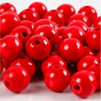 Wooden Beads, D: 10 mm, hole size 3 mm, red, 20 g/ 1 pack