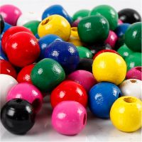 Wooden Beads Mix, D: 10 mm, hole size 3 mm, assorted colours, 20 g/ 1 pack