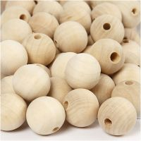 Wooden Bead, D: 20 mm, hole size 4 mm, 200 pc/ 1 pack