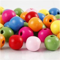 Wooden Beads Mix, D: 12 mm, hole size 2,5-3 mm, assorted colours, 500 g/ 1 bag