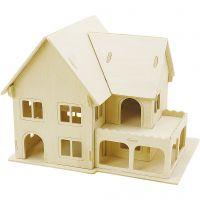 3D Wooden Construction Kit, House with veranda, size 22,5x16x17,5 , 1 pc