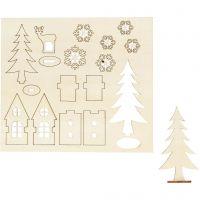 Self-assembly Figures, house, tree, roe deer, L: 15,5 cm, W: 17 cm, 1 pack