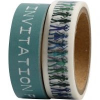 Washi Tape, W: 15 mm, turquoise, 2x5 m/ 1 pack