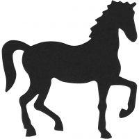 Cardboard Emblem, horse, size 60x64 mm, black, 10 pc/ 1 pack