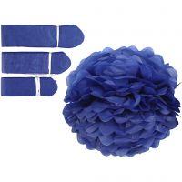 Tissue Pompons, D: 20+24+30 cm, 16 g, dark blue, 3 pc/ 1 pack