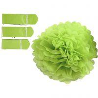 Tissue Pompons, D: 20+24+30 cm, 16 g, lime green, 3 pc/ 1 pack