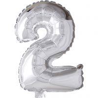 Foil Balloon, 2, H: 41 cm, silver, 1 pc