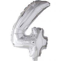 Foil Balloon, 4, H: 41 cm, silver, 1 pc