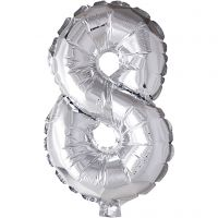 Foil Balloon, 8, H: 41 cm, silver, 1 pc