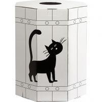 Carnival Barrel, H: 39 cm, D: 31 cm, white/black, 1 pc