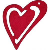Heart, size 55x45 mm, dark pink, 10 pc/ 1 pack