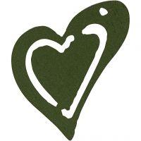 Heart, size 25x22 mm, dark green, 20 pc/ 1 pack