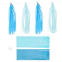 Paper Tassel, size 12x35 cm, 14 g, blue, light blue, 12 pc/ 1 pack