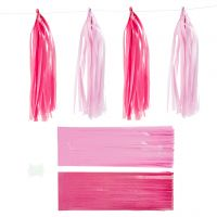 Paper Tassel, size 12x35 cm, pink, light red, 12 pc/ 1 pack