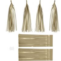Paper Tassel, size 12x35 cm, 14 g, gold, 12 pc/ 1 pack