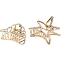 Hair claws, L: 44 mm, W: 36 mm, gold-plated, 2 pc/ 1 pack