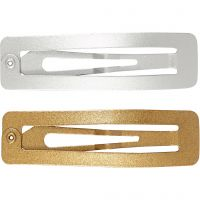 Hair Slide, L: 58 mm, W: 16 mm, gold, silver, 4 pc/ 1 pack