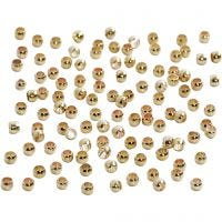 Crimp Beads, D: 2 mm, gold-plated, 100 pc/ 1 pack