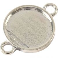 Cabochon Spacer Bead, D: 15 mm, hole size 2,5 mm, silver-plated, 25 pc/ 1 pack