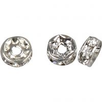 Rhinestone Rondelles, D: 6 mm, hole size 1,2 mm, silver-plated, 50 pc/ 1 pack