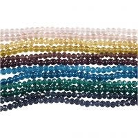 Glass and Faceted Beads, D: 4 mm, hole size 1 mm, 12x45 pc/ 1 pack