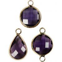 Jewellery Pendant, H: 15-20 mm, hole size 2 mm, purple, 1 pack