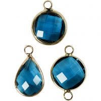 Jewellery Pendant, H: 15-20 mm, hole size 2 mm, turquoise, 1 pack