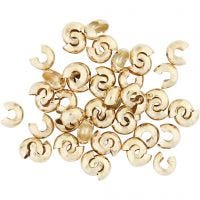 Crimp Bead Cover, D: 5 mm, gold-plated, 500 pc/ 1 pack