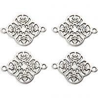 Jewellery Pendant, D: 15 mm, hole size 1,2 mm, silver-plated, 4 pc/ 1 pack