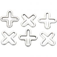 Jewellery Pendant, L: 14 mm, silver-plated, 6 pc/ 1 pack