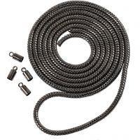 Snake Chain, D: 3,1 mm, dark grey metallic, 1 m