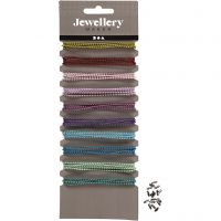 Coloured Bead Chains, D: 1,5 mm, assorted colours, 10x80 cm/ 1 pack