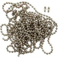 Bead Chain, D: 1,5 mm, silver-plated, 3 m/ 1 roll