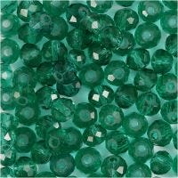 Faceted Beads, size 5x6 mm, hole size 1 mm, emerald green, 100 pc/ 1 pack