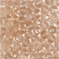 Faceted Beads, size 5x6 mm, hole size 1 mm, rose, 100 pc/ 1 pack