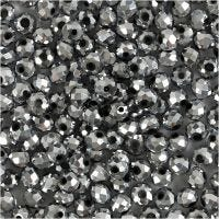 Faceted Beads, size 3x4 mm, hole size 0,8 mm, metallic grey, 100 pc/ 1 pack