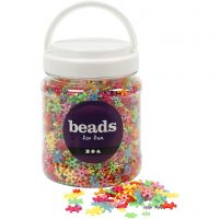 Novelty Shape Beads, D: 7-13,5 mm, hole size 2 mm, assorted colours, 700 ml/ 1 tub, 270 g
