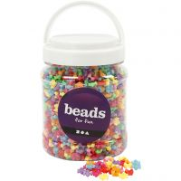 Shape Beads, D: 9,5 mm, hole size 1,5 mm, assorted colours, 700 ml/ 1 tub, 380 g