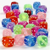 Dice Bead Mix, size 7x7 mm, hole size 1,5 mm, 125 ml/ 1 pack, 105 g