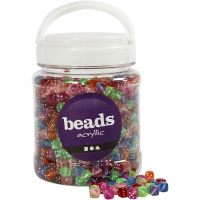 Dice Bead Mix, size 7x7 mm, hole size 1,5 mm, assorted colours, 700 ml/ 1 tub, 510 g