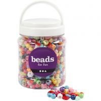 Plastic Beads, size 6-20 mm, hole size 1,5-6 mm, 700 ml/ 1 tub, 390 g