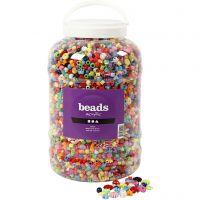 Bucket of Plastic Beads, size 6-20 mm, hole size 1,5-6 mm, 5700 ml/ 1 bucket, 3000 g