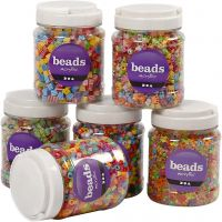 Bead Mix, size 7-10 mm, hole size 2-4 mm, assorted colours, 6x700 ml/ 1 pack
