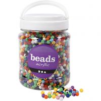 Pony Beads, D: 6 mm, hole size 3 mm, assorted colours, 700 ml/ 1 tub, 425 g